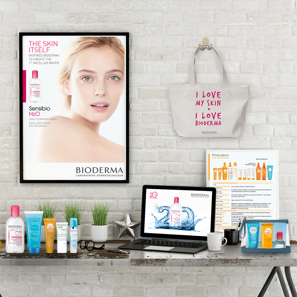 Selection of Bioderma products and graphics