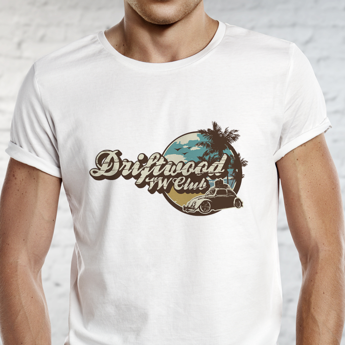 Driftwood logo on tshirt of man