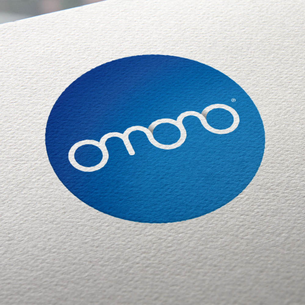 Omono logo on textured paper